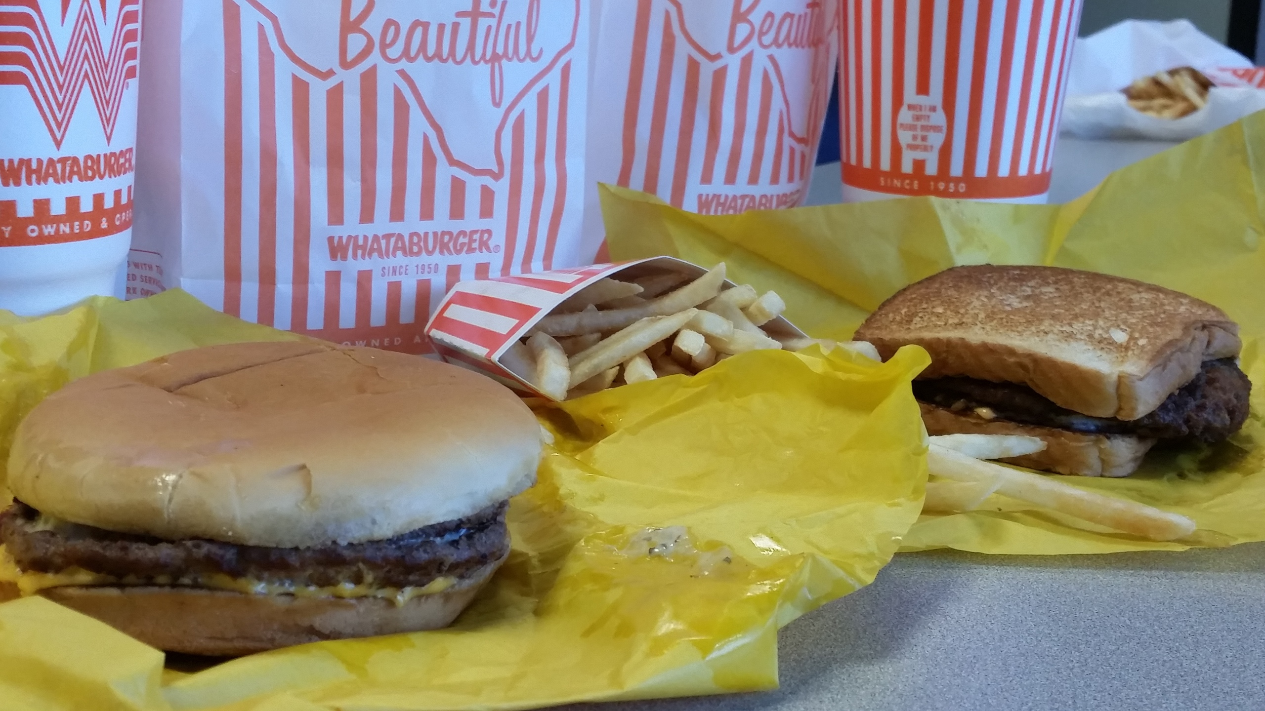 Whataburger burger, french fries and Texas Toast-846655081