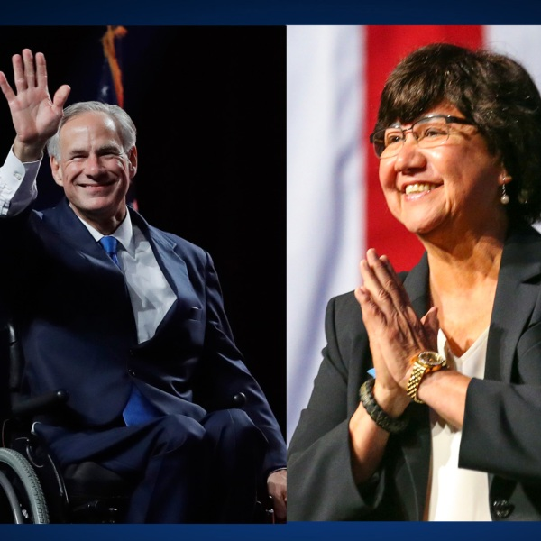 Greg Abbott, left, and Lupe Valdez-846655081