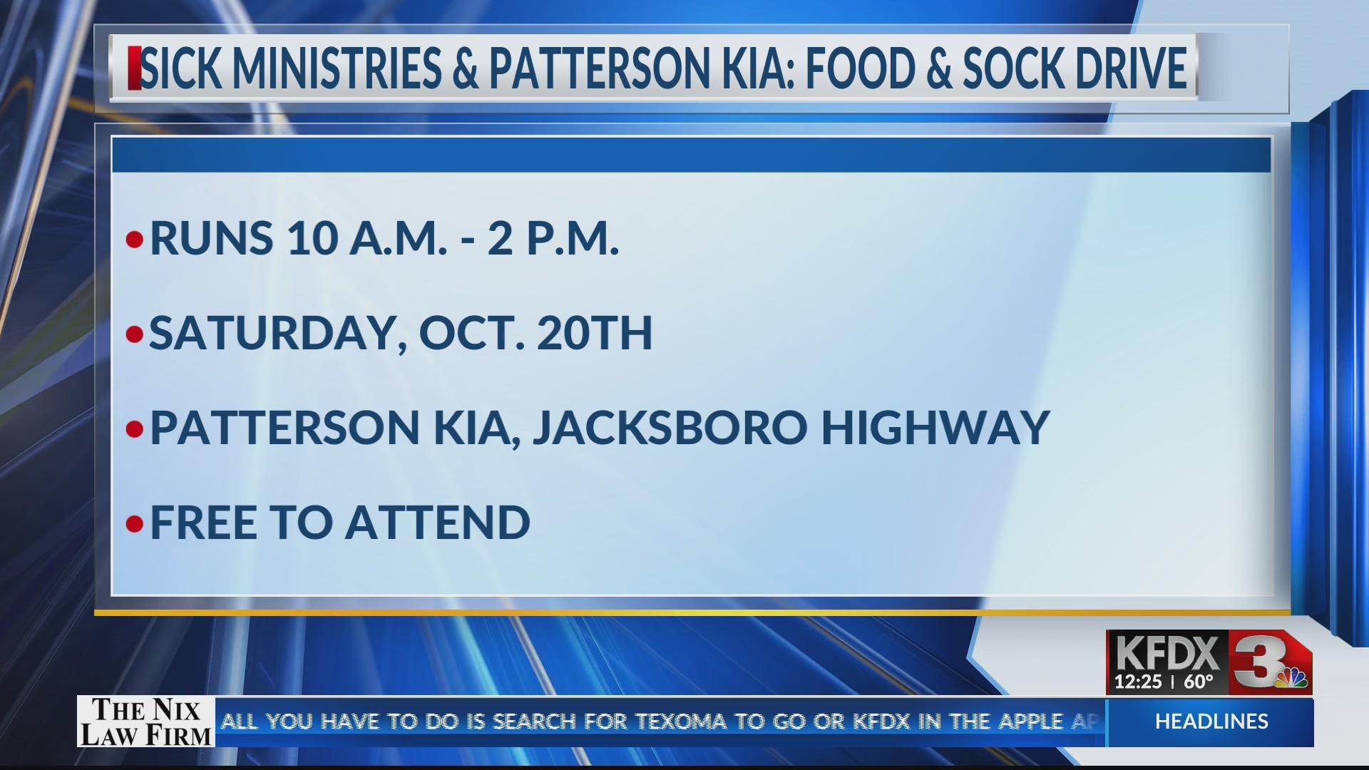 Sick Ministries & Patterson Kia food and sock drive