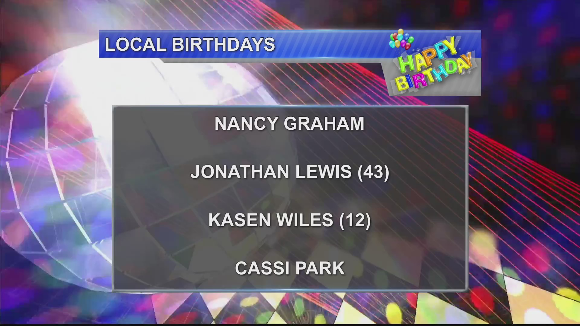 Birthdays 11/27/18