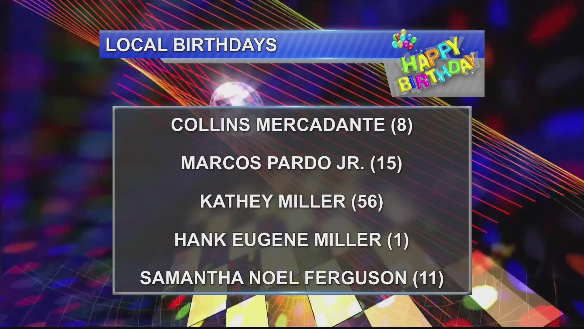 Birthdays 11/7/18