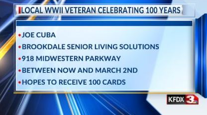 WWII veteran makes wish for 100 cards for centennial birthday