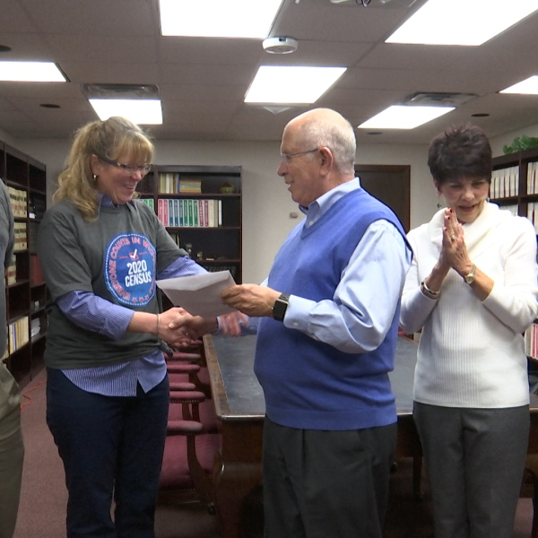 A whopping $15,000 check was donated to the city's 2020 census task force Tuesday.