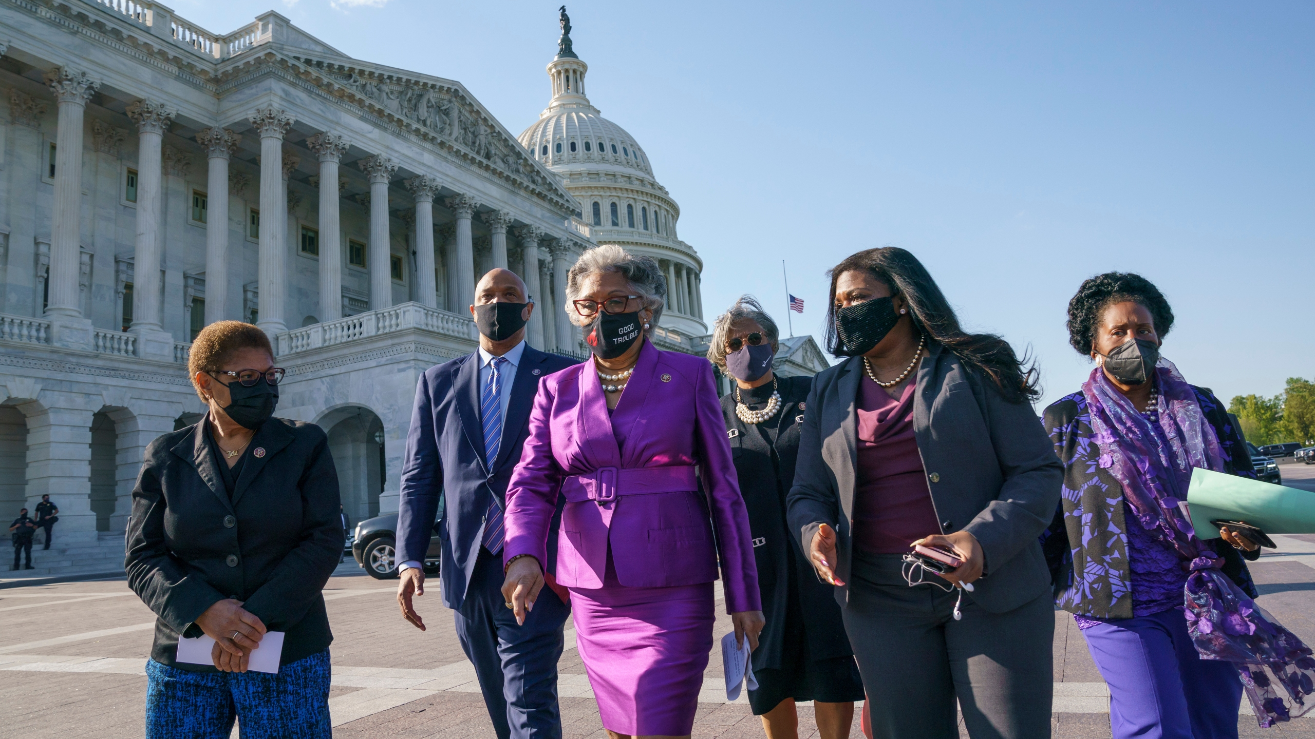 Karen Bass, Andre Carson, Joyce Beatty, Brenda Lawrence, Cori Bush, Sheila Jackson Lee